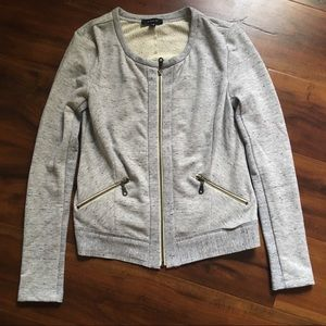 DREW zip front jacket - grey - raw edges - XS